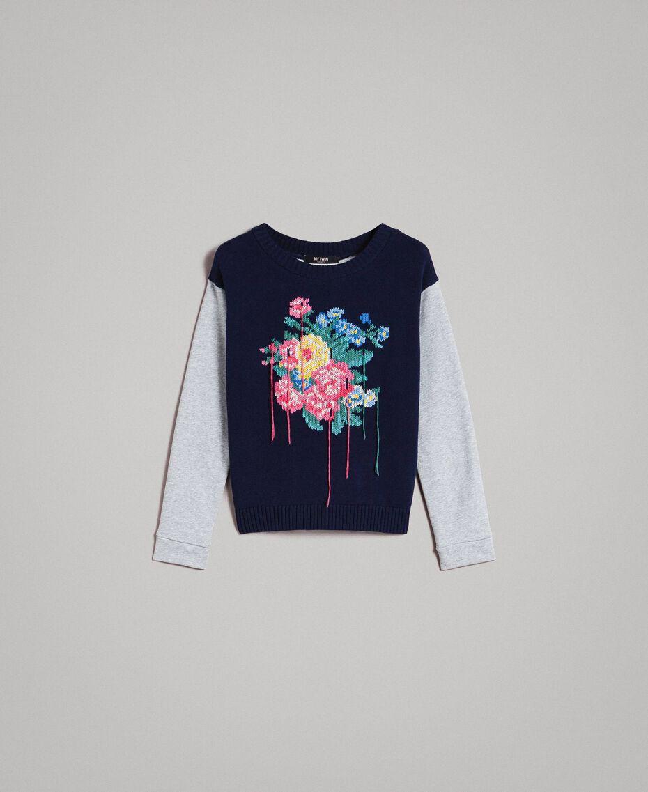Pullover mit handgefertigter Blumenintarsie Zweifarbig Melange Hellgrau / Indigo Frau 191MP3122-0S