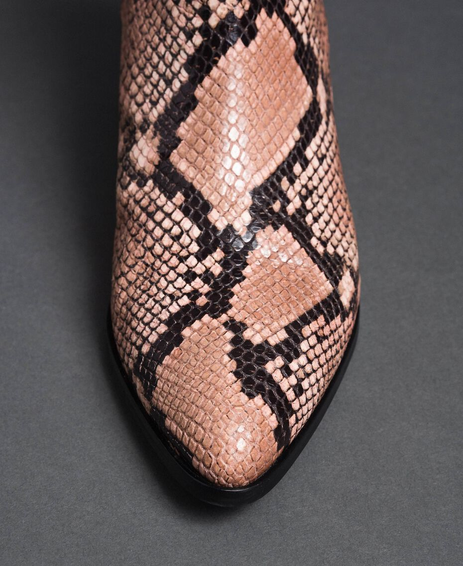 Stivaletti in pelle con stampa animalier Stampa Pitone Pink Mousse Donna 192TCP10A-03
