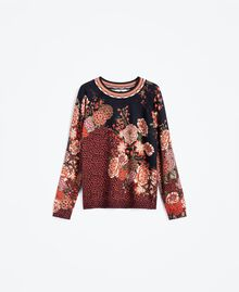 Maxi viscose blend printed jumper Black Flower Print Woman LA8KDD-01
