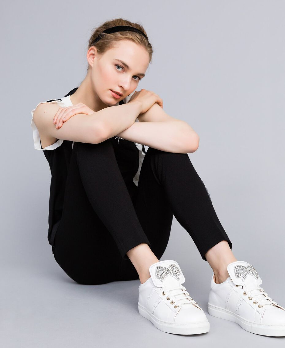 Two-tone leather sneakers with bow patch White Woman CA8PBG-0S