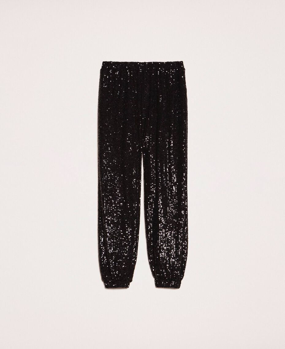 Sequinned joggers Gold Yellow Woman 201LB21GG-0S
