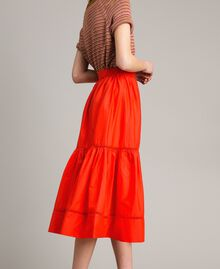 Poplin mid-length skirt Granadine Red Woman 191TT224B-02