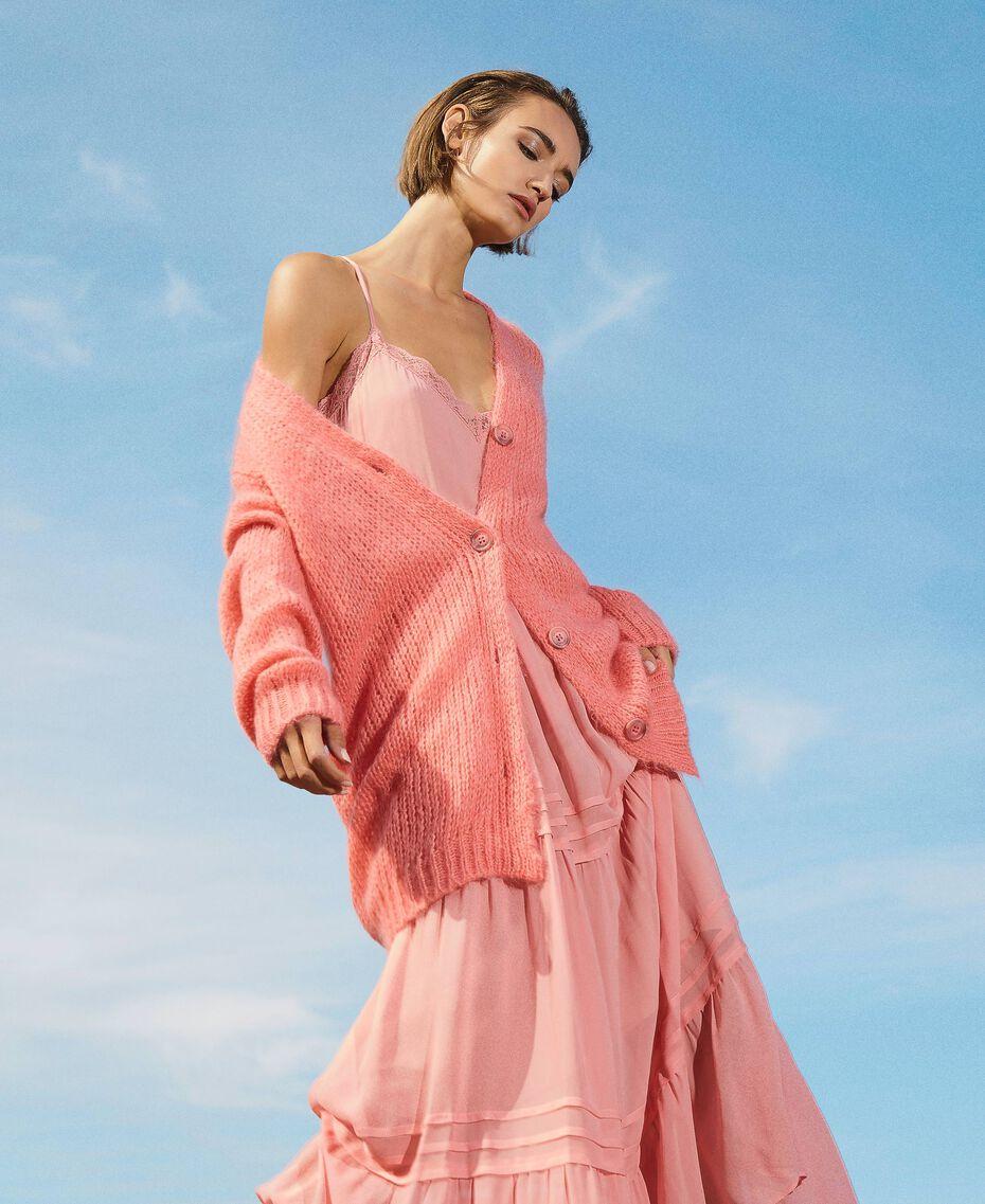 Cardigan oversize en mohair mélangé Rose «Pêche Blossom» Femme 202TP3271-02