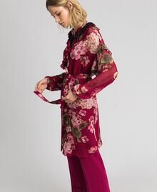 Floral print creponne shirt dress Beet Red Geranium Print Woman 192TP2728-04