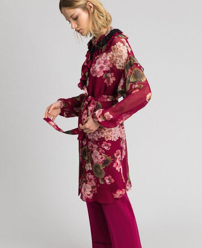 Robe chemisier en crépon avec imprimé floral Imprimé Rouge Betterave Géranium Femme 192TP2728-04