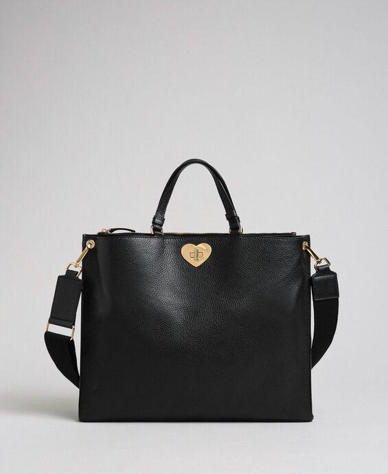 Большая кожаная сумка-шоппер с ремнем через плечо