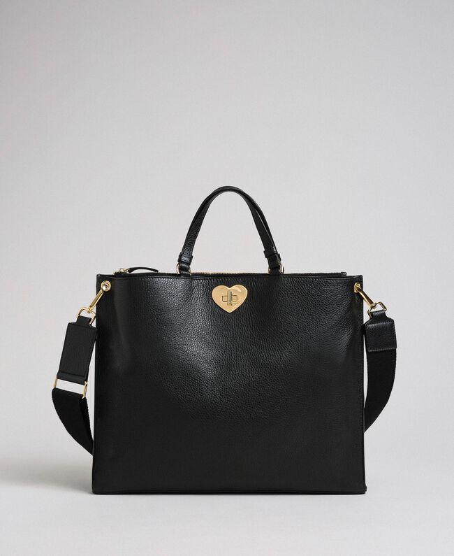 Grand cabas en cuir à bandoulière Noir Femme 192TO8090-01