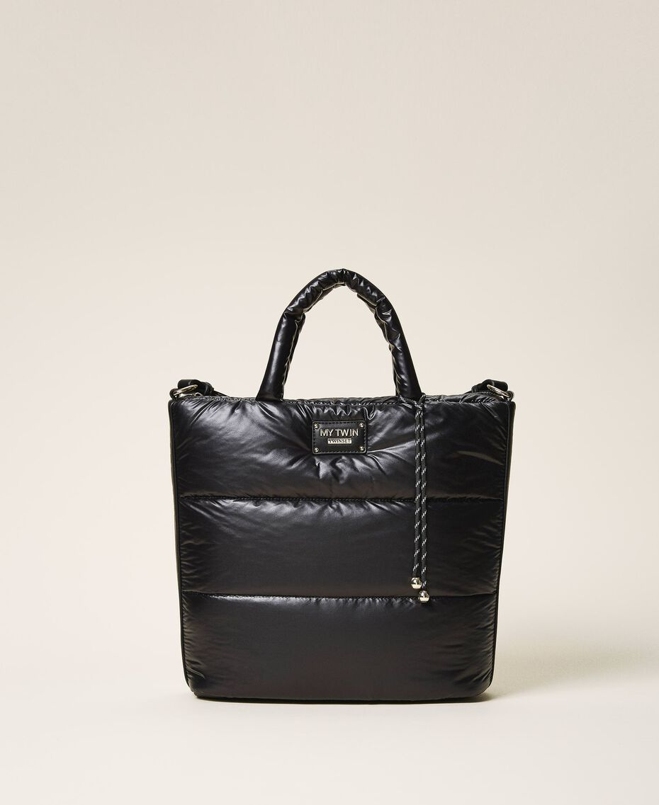 Quilted shopper with logo Black Woman 202MO8021-01