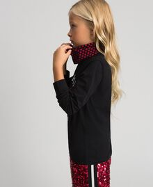 T-shirt with butterfly print and collar Black / Tiny Heart Print Child 192GJ2532-03