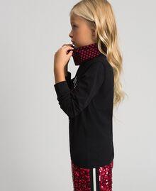 Shirt mit Herzprint und abnehmbarem Kragen Schwarz / Herzchenprint Kind 192GJ2532-03