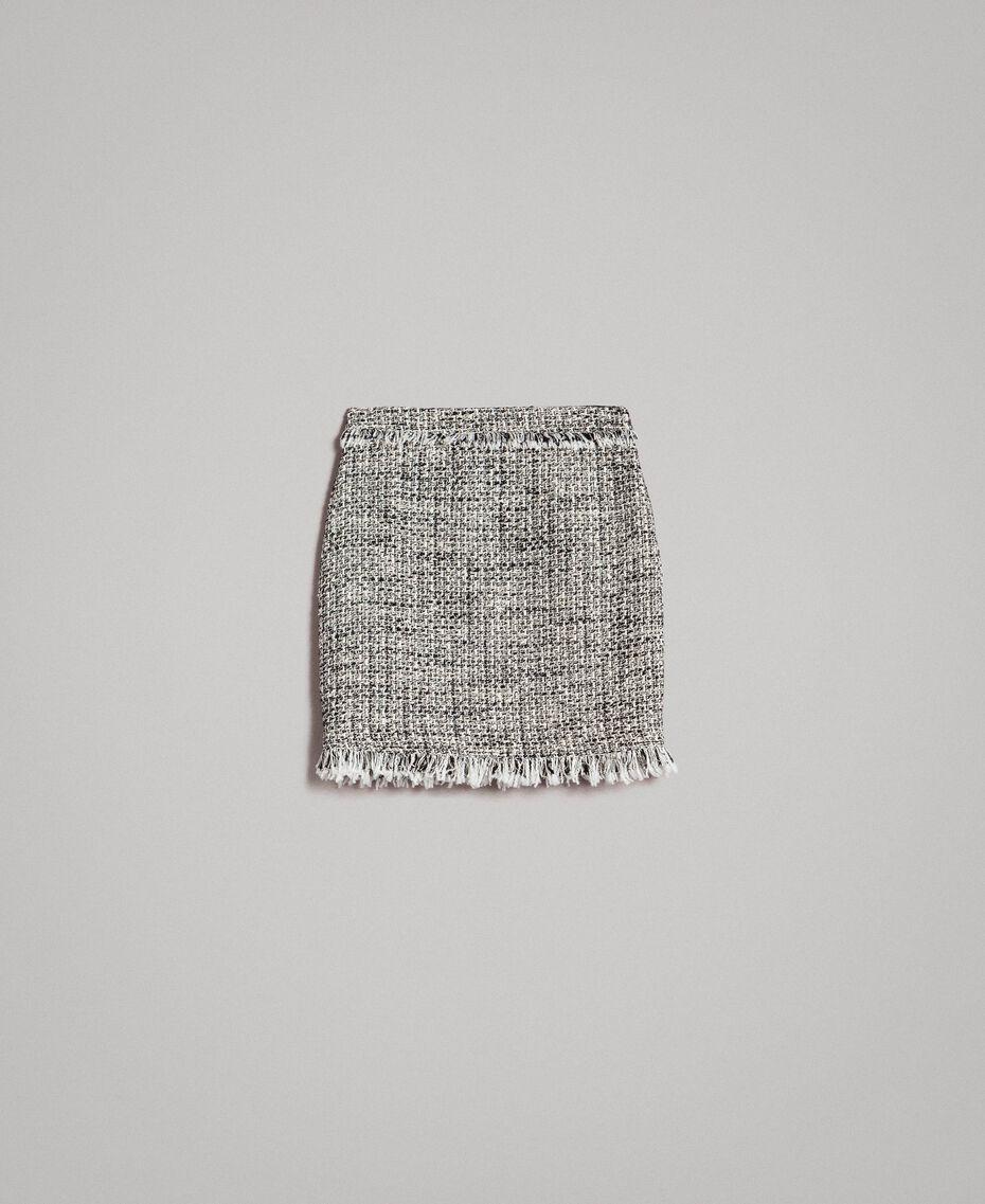 """Minijupe en tweed avec franges Bicolore Bouclé Blanc """"Neige"""" / Noir Femme 191TP2527-0S"""