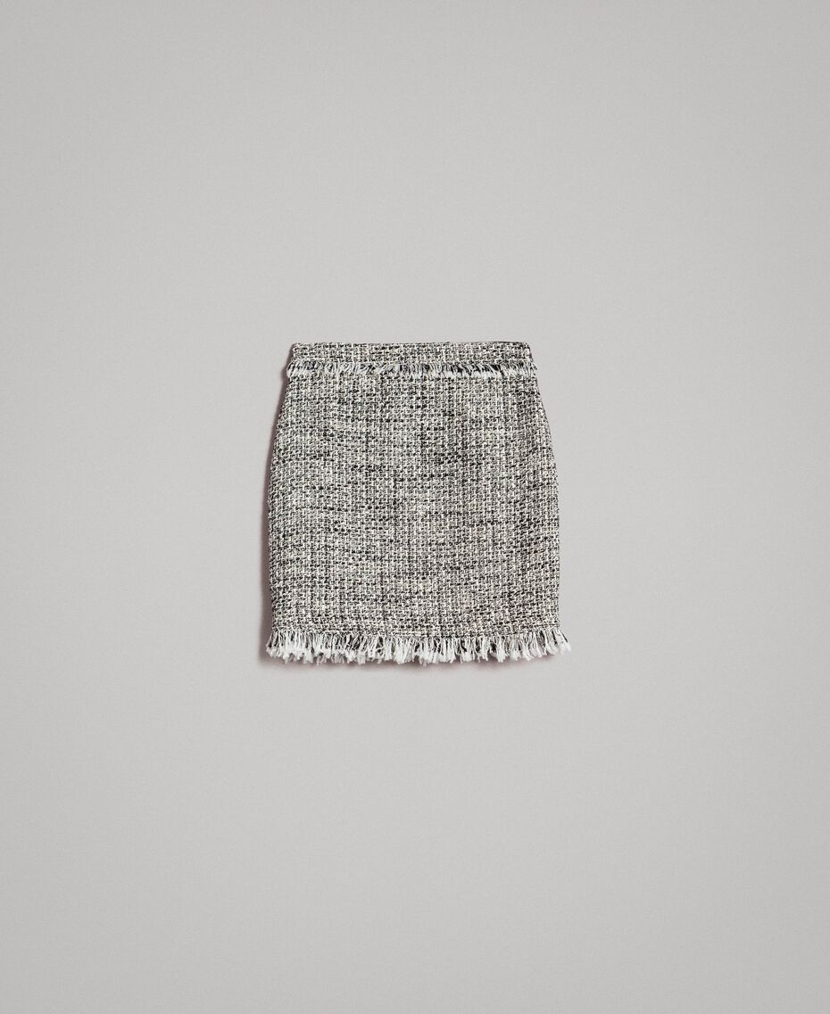 "Fringed tweed mini skirt Two-tone ""Snow"" White Bouclé / Black Woman 191TP2527-0S"