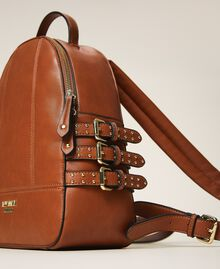 Faux leather backpack with straps Leather Brown Woman 202MA7042-01