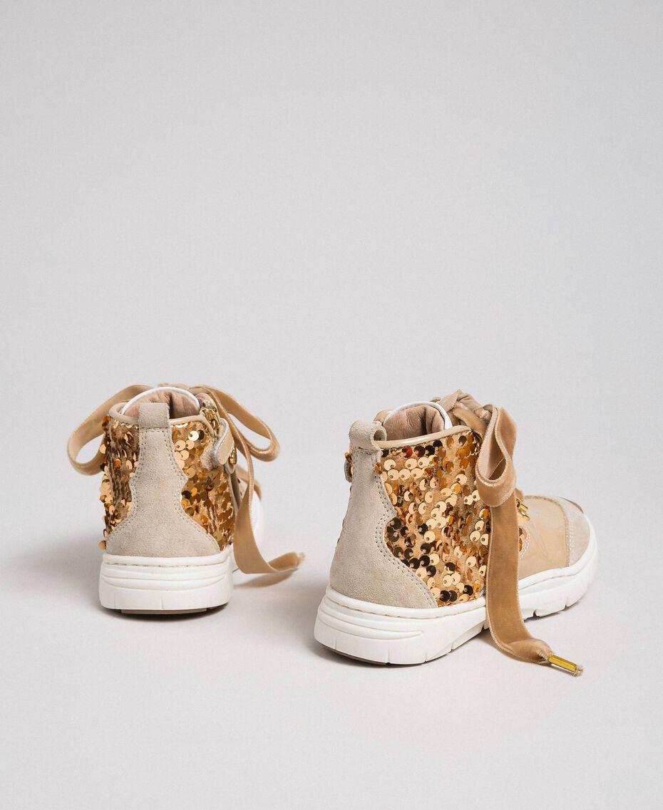 Sneakers aus Leder mit Pailletten Farro-Beige Kind 192GCB054-03