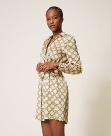 Hemdblusenkleid mit Kettenprint Kettenprint Elfenbein / Gold Frau 202TT2210-03