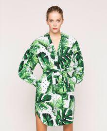 Платье-рубашка из набивного поплина Принт Тропический Горошек Зеленый женщина 201TP2551-01