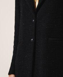 Manteau léger en laine mélangée bouclée Noir Femme 202TT217A-04