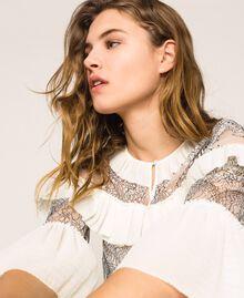 Robe plissée avec dentelle bicolore Blanc Neige Femme 201TT2142-04