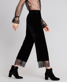 Pantaloni cropped in velluto Nero Donna TA826S-04