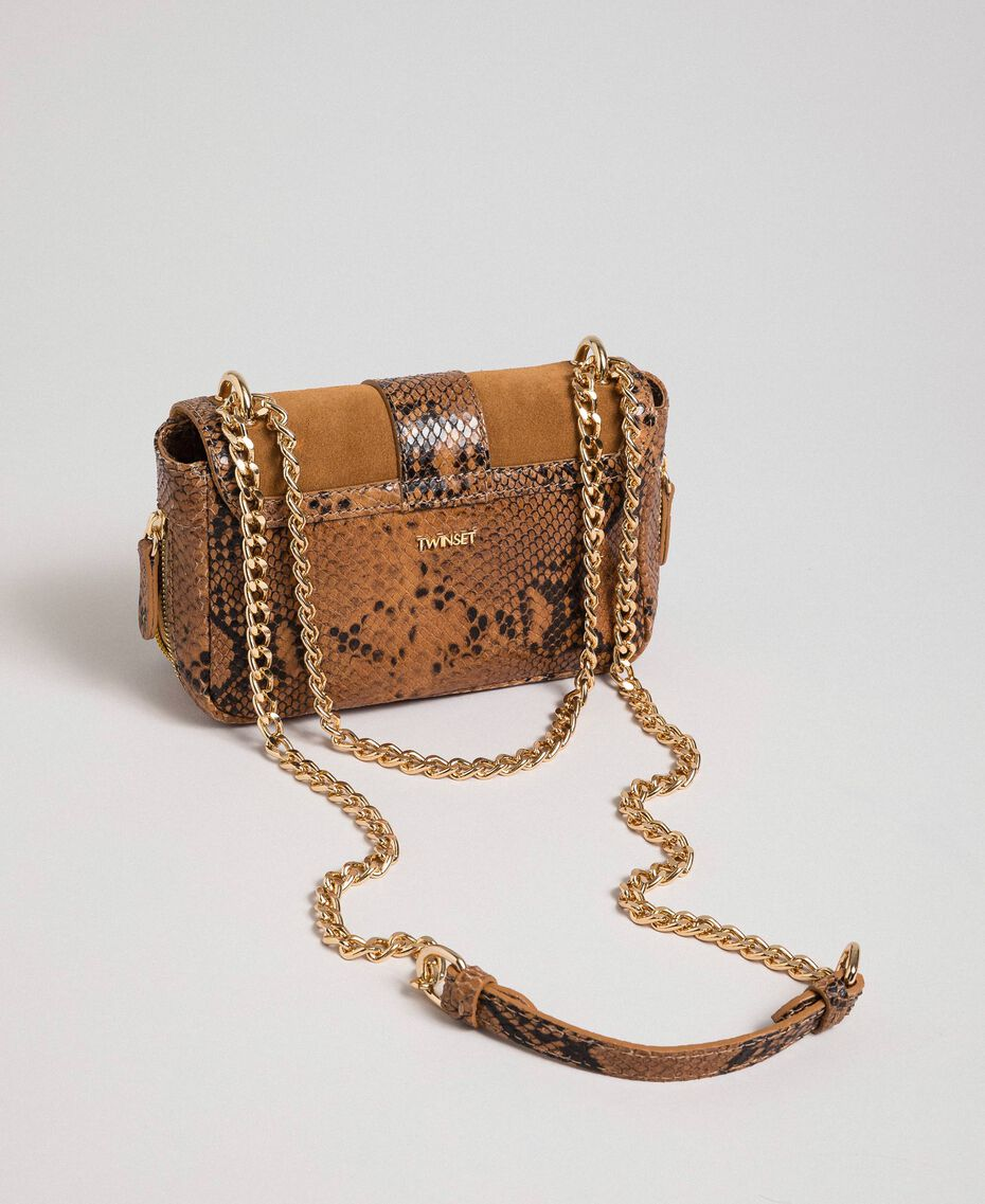 Small Rebel shoulder bag in suede and leather Brandy Python Print Woman 192TO8240-03
