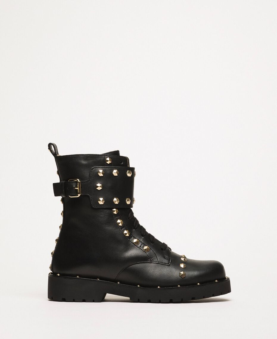 Leather combat boots with studs Black Woman 999TCP020-02