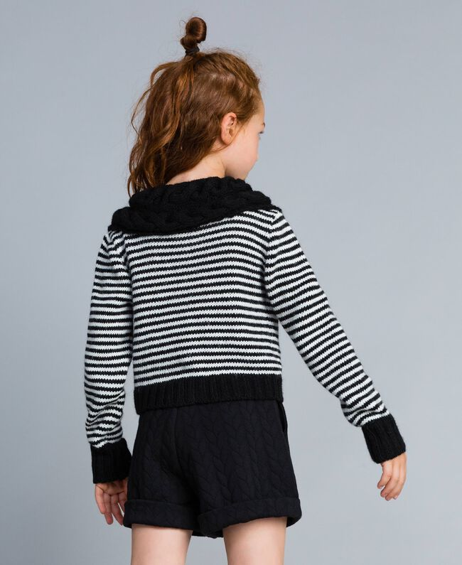 Cardigan in misto lana a righe Bicolor Nero / Off White Bambina GA83KA-03