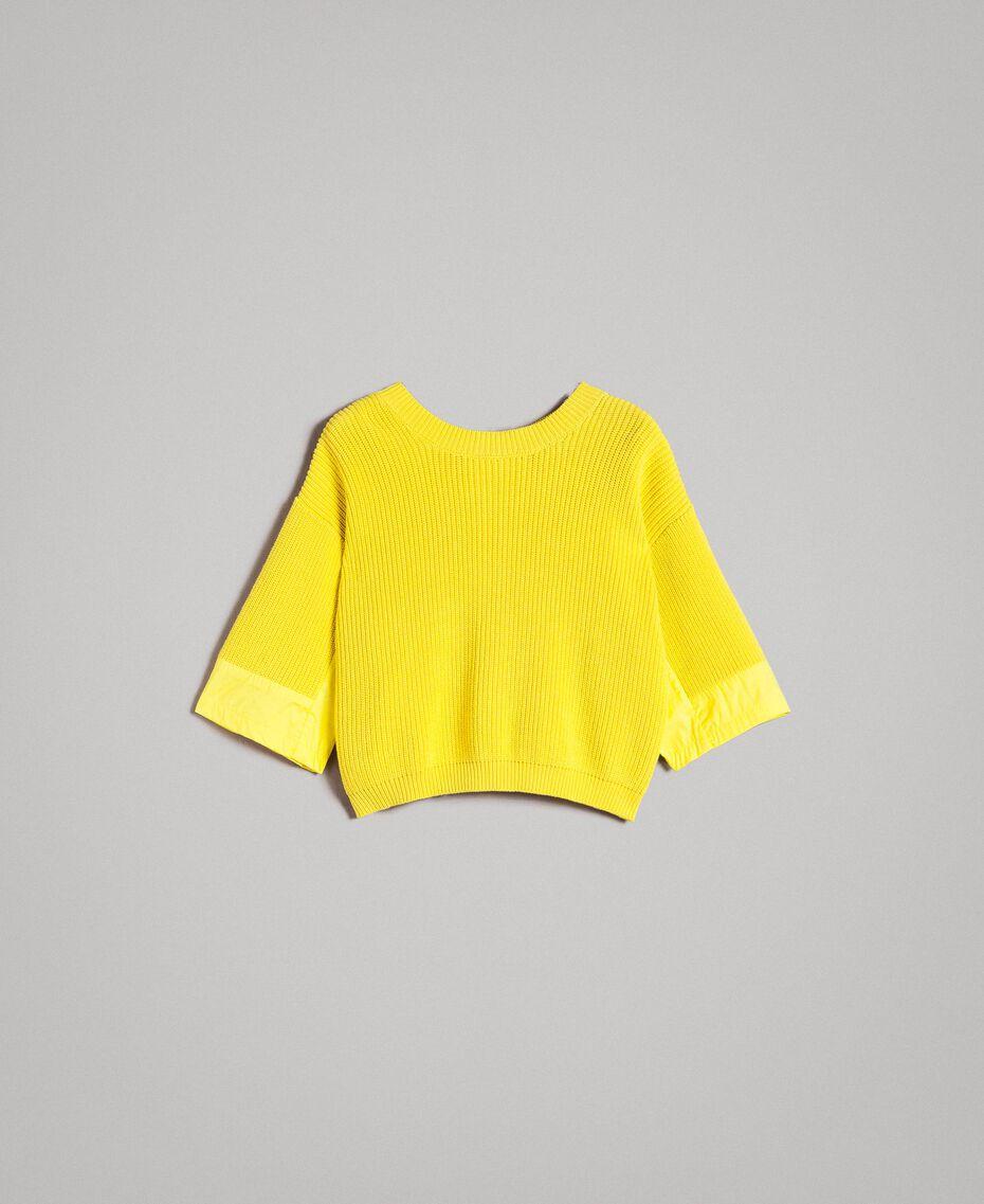 Cardigan top with poplin details Yellow Lemon Woman 191ST3060-0S