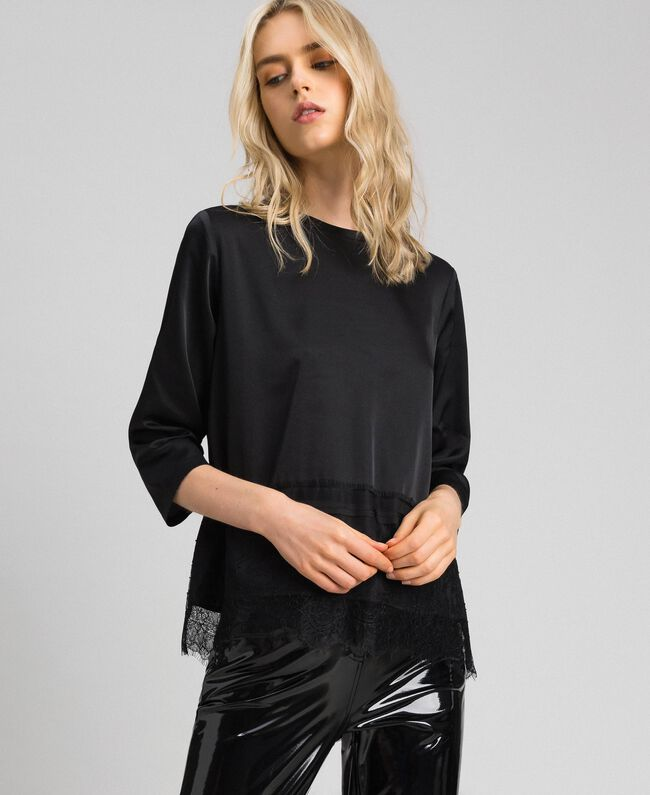 Soft satin blouse with lace flounce Black Woman 192MP2133-01