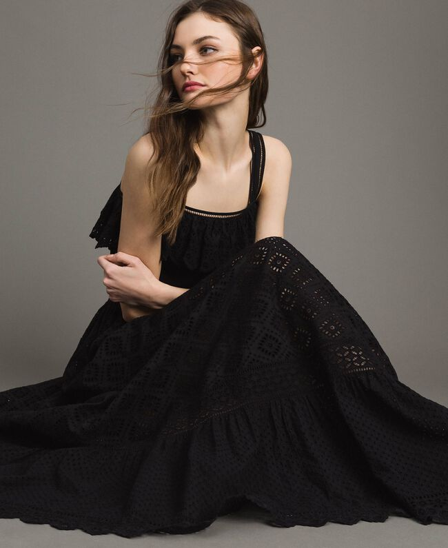 Long dress with broderie anglaise embroidery Black Woman 191TT2043-01