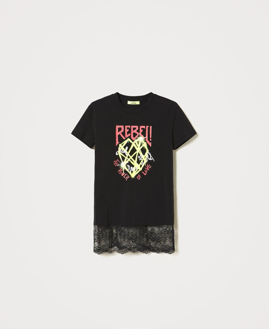 Printed T-shirt with lace Black Woman 211MT2300-0S