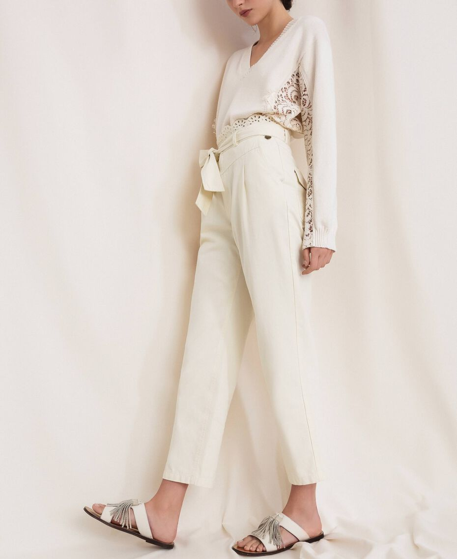 """Canvas trousers with broderie anglaise """"Dune"""" Beige Woman 201TP2015-03"""