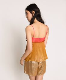 """Pleated chiffon top """"Sugar Coral"""" Red / Golden Yellow Fadeout Print Woman 201TT2523-04"""