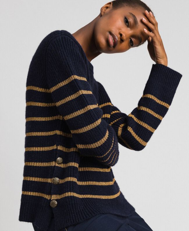 Pull en laine mélangée à rayures lurex Rayé Midnight Bleu / Or Foncé Femme 192TT3360-04