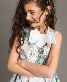 """Цветочное платье из королевского атласа """"Water"""" Светло-Голубой Растительный Принт Pебенок 191GJ2QN0-04"""