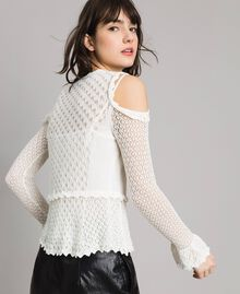 Lace stitch jumper White Snow Woman 191TP3072-03