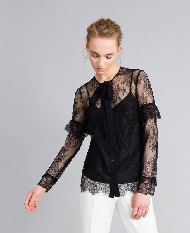 Camicia in pizzo Valencienne multicolor Nero Donna PA82FR-01