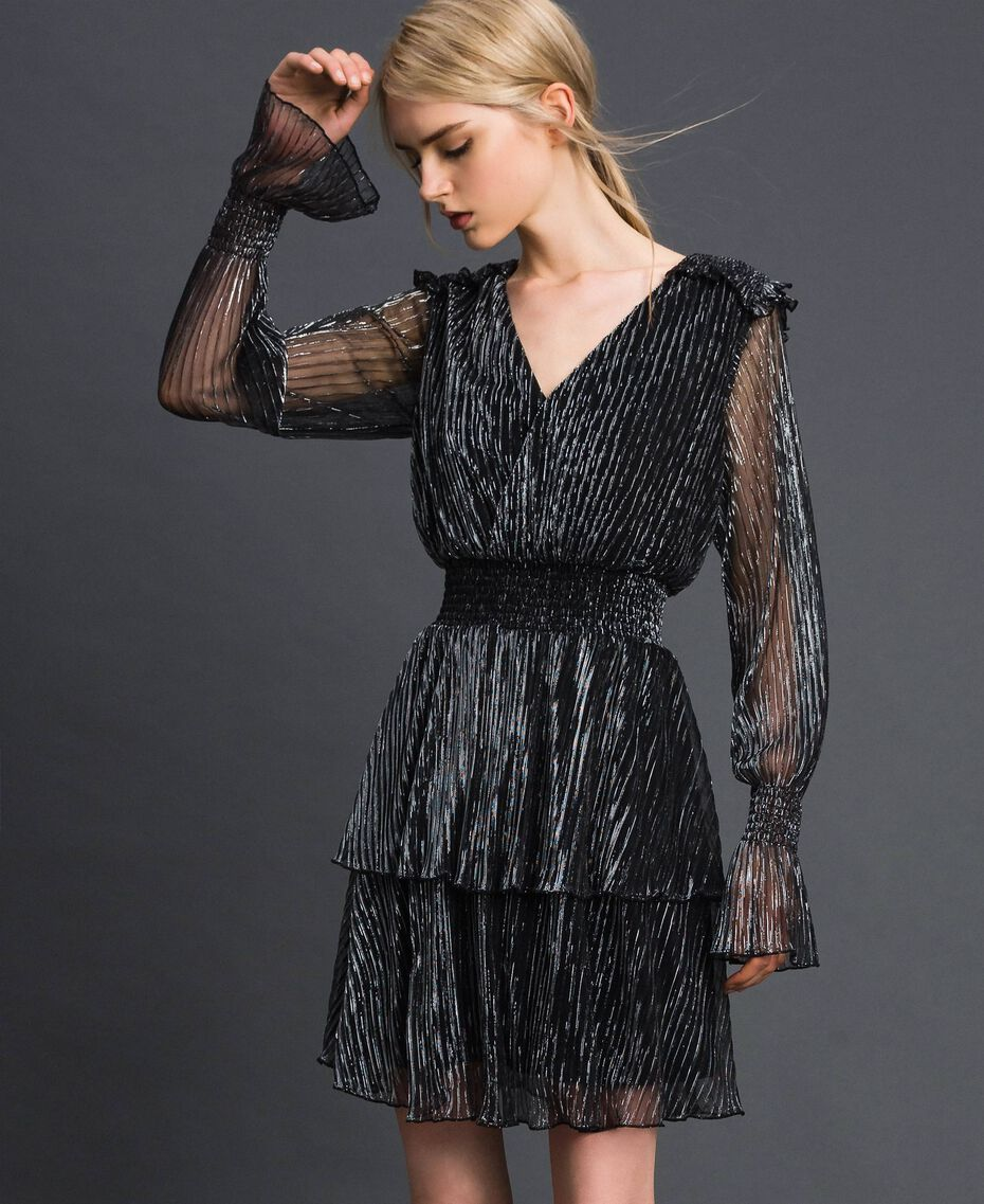 Metal creponne tulle dress Black / Silver Woman 192MT2140-02