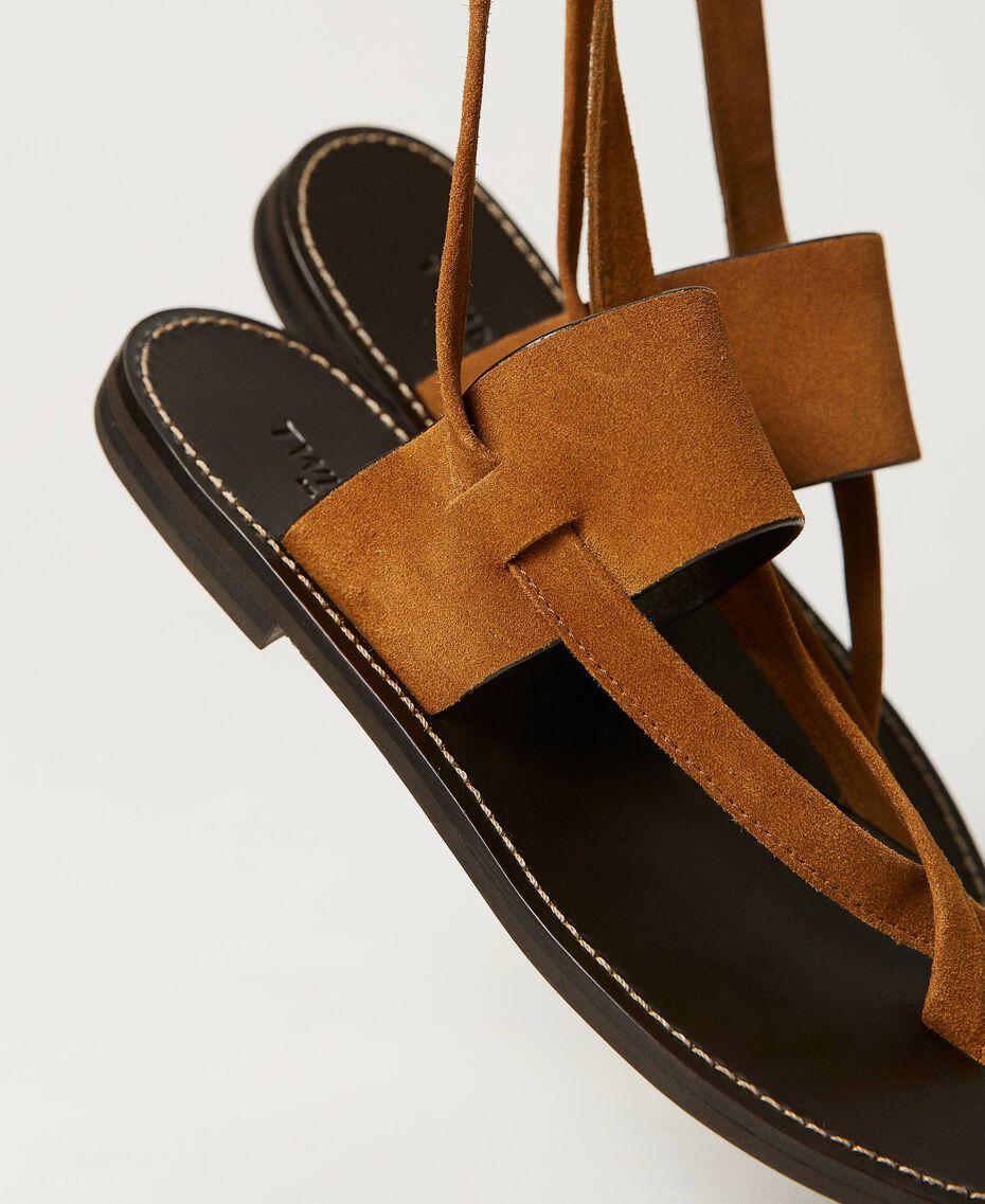 "Sandales plates en cuir Beige ""Cigare"" Femme 211TCT060-01"