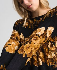Printed wool maxi jumper with lace Black Baroque Flower Stripes Mix Print Woman 192TT3342-01