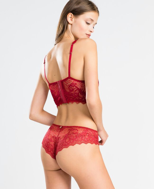 "Tulle plumetis and lace Brazilian briefs ""Reddish"" Red Woman LA8A77-03"