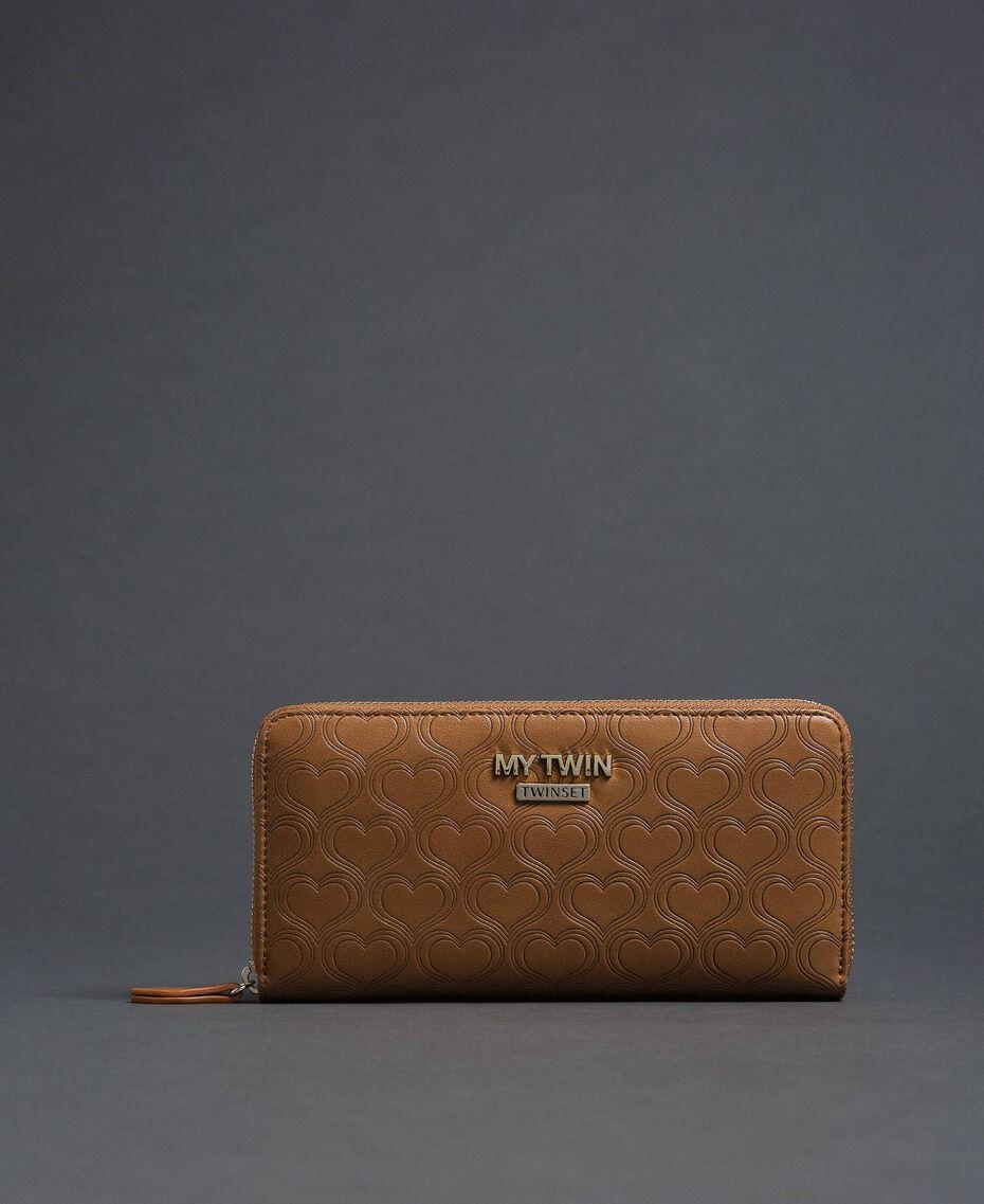Heart print faux leather wallet Irish Cream Hazelnut Woman 192MA7015-01