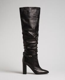 Leather thigh-high boots with strap Black Woman 192TCP106-02
