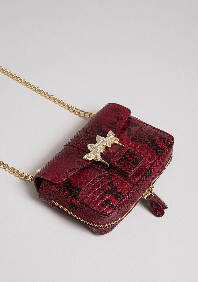 Small Rebel shoulder bag with python print