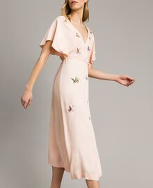 "Satin long dress with butterfly embroidery ""Rose Sand"" Pink Woman 191TT2112-03"