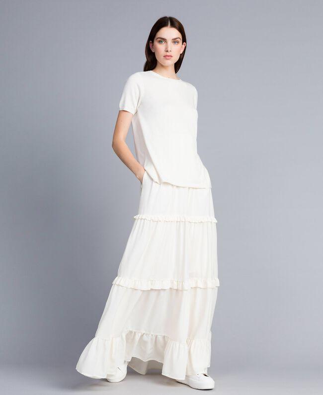 Crêpe de Chine long skirt Mother Of Pearl Woman SA82H7-01