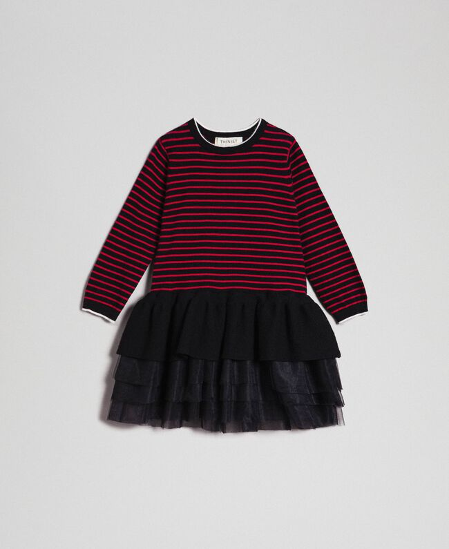 Striped dress with tulle flounces Striped Jacquard / Black Child 192GB3251-01