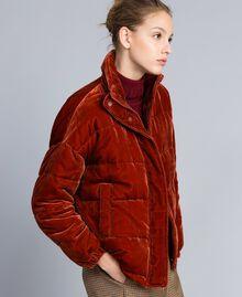 Short velvet padded jacket Reddish Brown Woman TA82BA-03