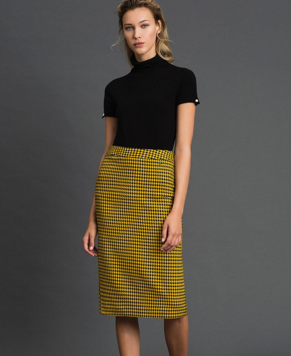 Gonna longuette in pied-de-poule Pied De Poule Giallo / Nero Donna 192MT2053-02
