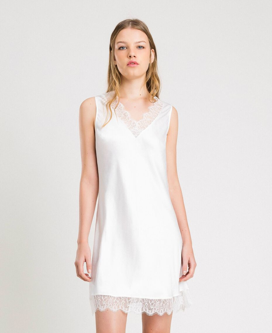 Slip dress in satin and lace Ivory Woman 191LL2DBB-01