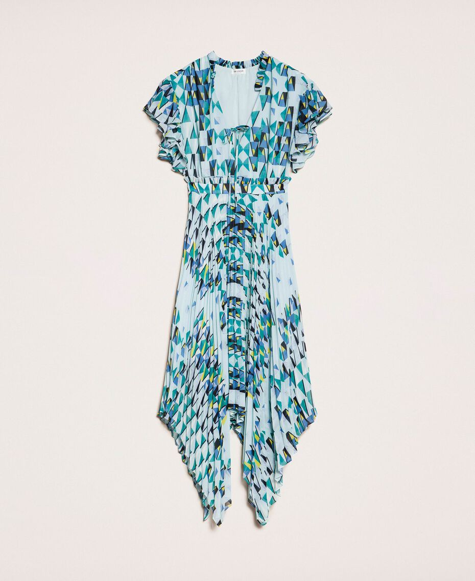 "Printed georgette dress with pleats and frills ""Windy"" Blue Geometric Print Woman 201ST2185-0S"